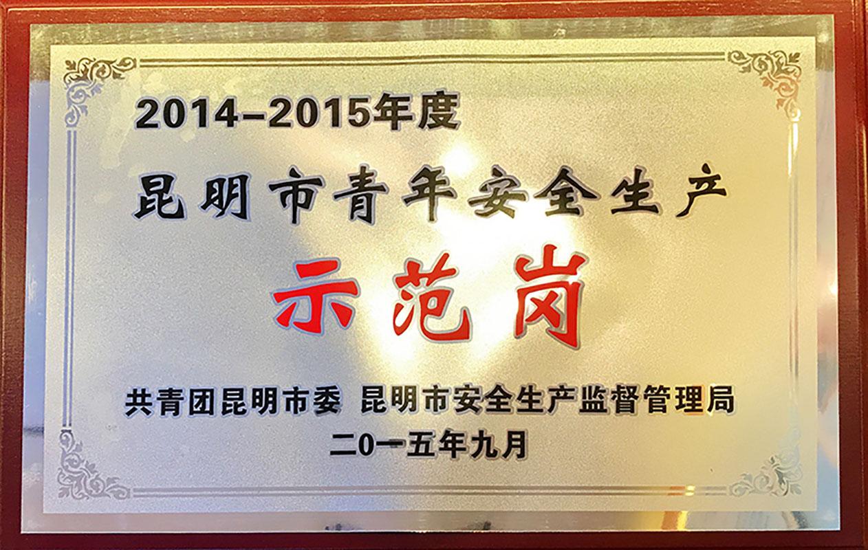 2014-2015年度昆明市青年安全生产示范岗